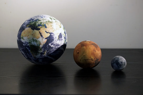 Earth, Mars & Moon to scale
