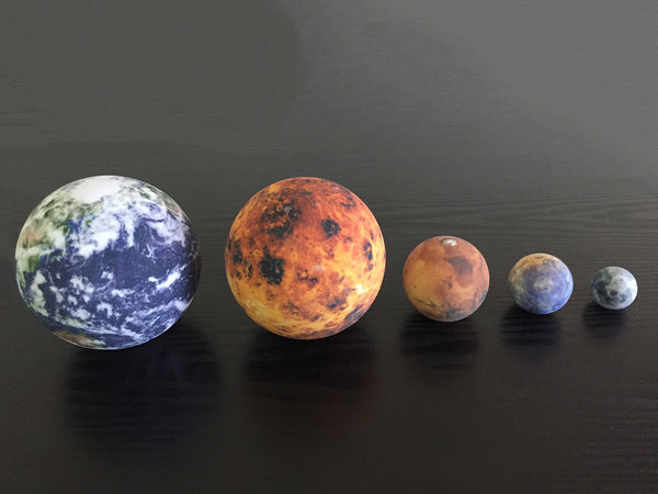 Earth, Venus, Mars, Mercury & the Moon to scale
