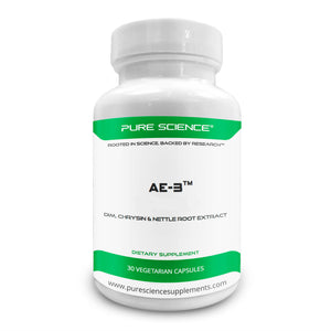 Pure Science AE-3 Chrysin with DIM & Stinging Nettle Root Extract and BioPerine – Natural Aromatase Inhibitor & Estrogen Blocker for Men – 30 Capsules