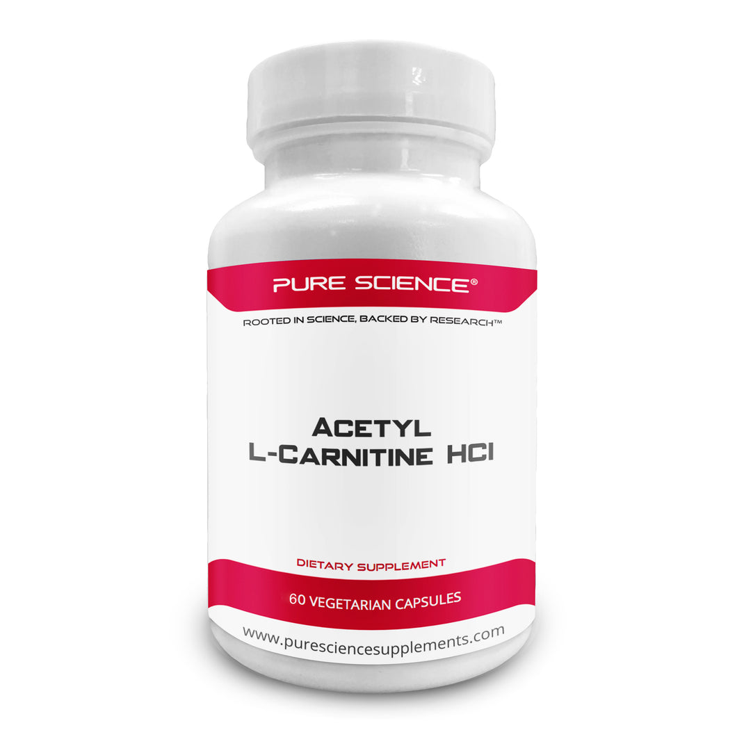 Pure Science Acetyl L-Carnitine HCI 525mg - Great for Mesomorph Body Type, Detox & Brain Support – 60 Vegetarian Capsules of Acetyl L-Carnitine Powder