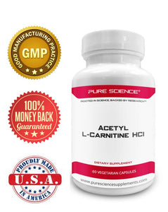 3 Bottles of Pure Science Acetyl L-Carnitine HCI 525mg - Great for Mesomorph Body Type, Detox & Brain Support – 180 Vegetarian Capsules