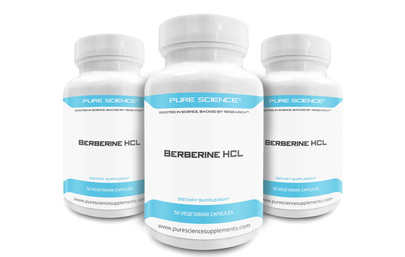 3 Bottles of Pure Science Berberine HCL 500 mg – 50 Vegetarian Capsules