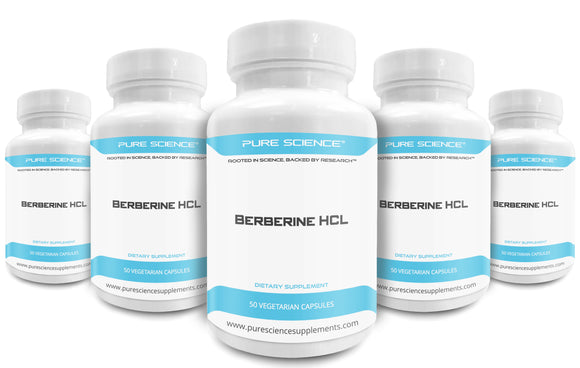5 Bottles of Pure Science Berberine HCL 500 mg – 50 Vegetarian Capsules
