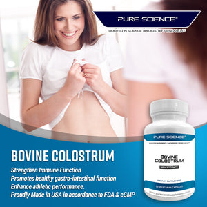 Bovine Colostrum 500mg (Standardized to contain Immunoglobulin 30%) – Boost the Immune System and Supports Digestive Function – 60 Capsules