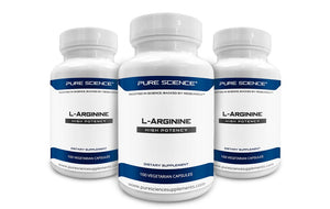 3 Bottles of Pure Science L-Arginine Supplements 750mg – Improve Coronary & Cardiovascular Health, Improve Blood Flow & Physical Performance – 300 Vegetarian Capsules