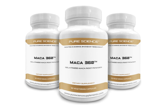 3 Bottles of Pure Science Gelatinized Maca Root Powder