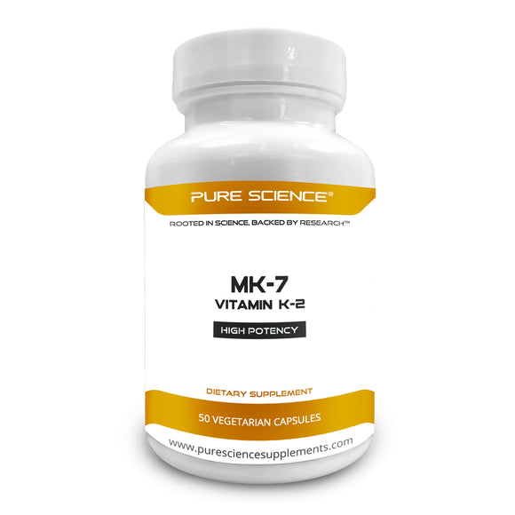 Pure Science Vitamin K2 (MK-7) as Menaquinone-7 (natto Extract) 120mcg with 5mg BioPerine (Natural Bioavailability Enhancer for better absorption) - 50 Vegetarian Capsules