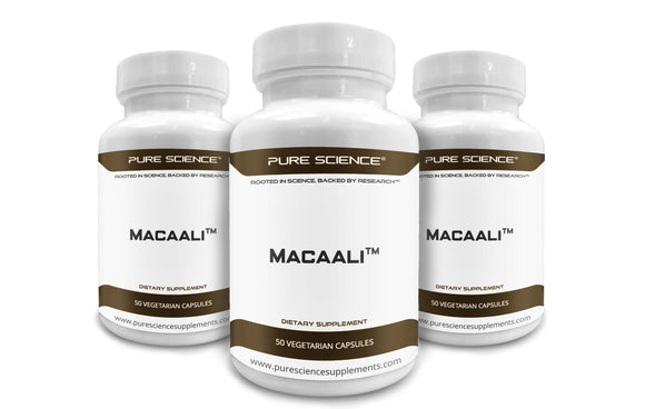 3 Bottles of Pure Science Macaali - Maca with Tongkat Ali Extract 700mg - 50 Vegetarian Capsules