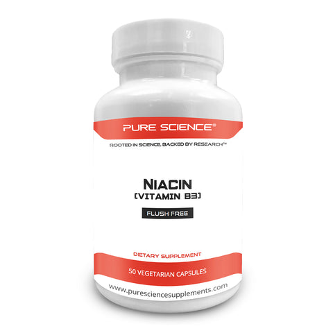 Pure Science Vitamin B3 Niacin 500mg (Flush Free) with 5mg BioPerine®-50 Vegetarian Capsules