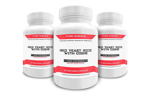 3 bottles of Red Yeast Rice 600mg/Cap and CoQ10 100mg/Cap - 50 Vegetarian Capsules