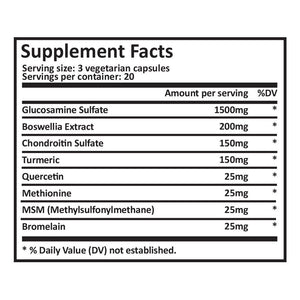 Joint Supplement 1500mg - Chondroitin & Glucosamine - 60 Vegetarian Capsules
