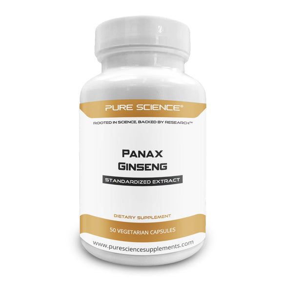 Pure Science Red Panax Ginseng Extract 600mg (7% Ginsenoside) - 50 Vegetarian Capsules