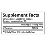 L-Theanine - 400Mg/Cap - 50 Vegetarian Caps - Pure Science Supplements