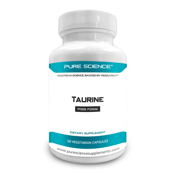 Pure Science Taurine 1000mg – 50 Vegetarian Capsules of Taurine Powder
