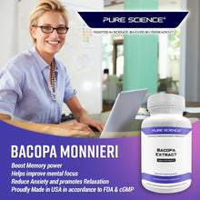 Load image into Gallery viewer, Pure Science Bacopa Monnieri Extract 600mg (S.E. 50% Bacosides 320mg & Bacopa Monnieri Powder 280mg) – Improves Memory and Attention, Promotes Relaxation - Non Gluten - 50 Vegetarian Capsules