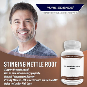 Stinging Nettle Root Extract (500mg Standardized Nettle Root Extract at 1% Silica & 250mg Nettle Root Powder with 5mg BioPerine) - 50 Vegetarian Capsules
