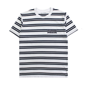 """DOOM LOGO"" Striped T-Shirt (White/Navy)"