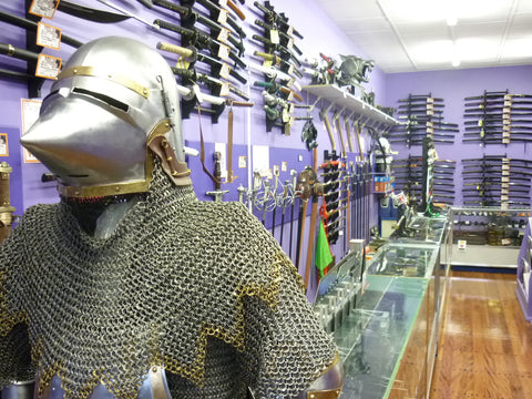 Photo showing the huge range of swords and other sharp, pointy things in store :)