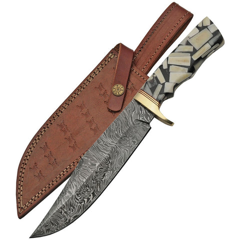 Damascus Folded Steel Bowie Knife, Bone and Resin Grip with Leather Sheath