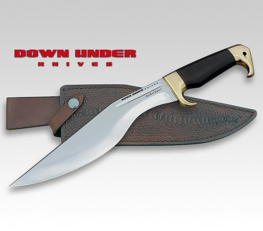 Down Under Knives Red Rock Raptor Kukri Style Knife with Leather Sheath