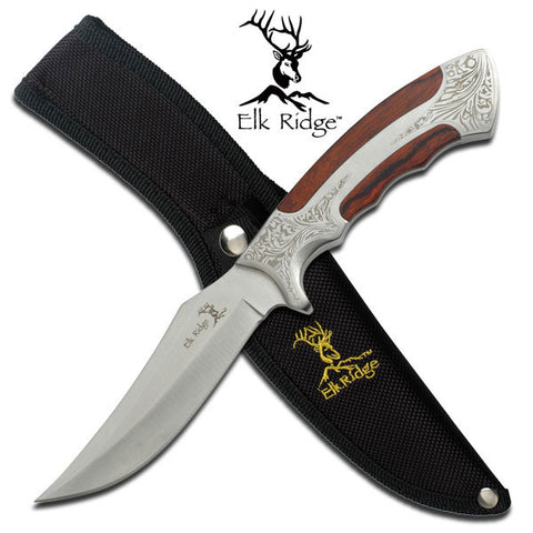Elk Ridge Hunting Camp Knife Etched Steel Grip with Sheath