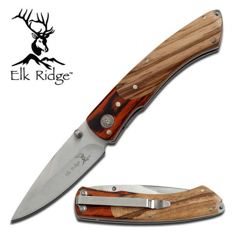 Elk Ridge Two Tone Pakkawood Folding Pocket Camp Knife