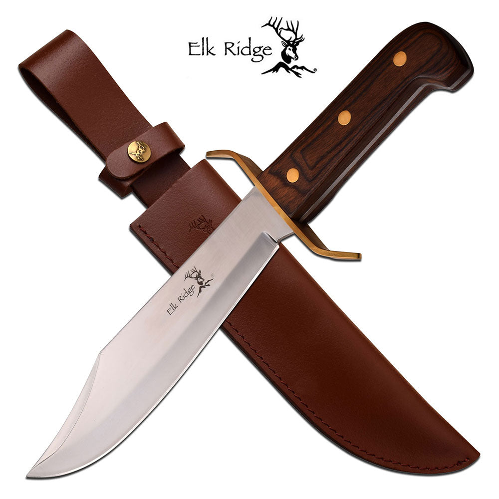 Elk Ridge Old Western Bowie with Pakka Wood Grip and Stainless Steel Blade
