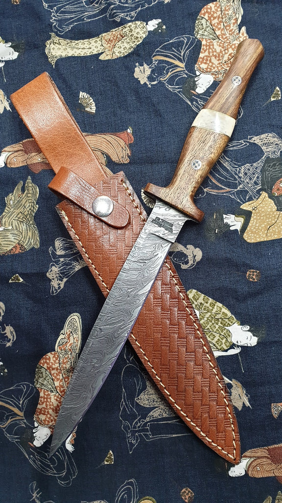 Damascus Steel Rosewood and Bone Dirk Knife Valley Forge