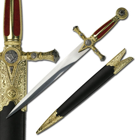 Masonic Ceremonial Dagger Knife Red Velvet Grip Stainless Steel Blade
