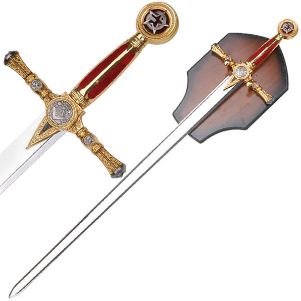 Masonic Ceremonial Sword Red Velvet Grip Stainless Steel Blade