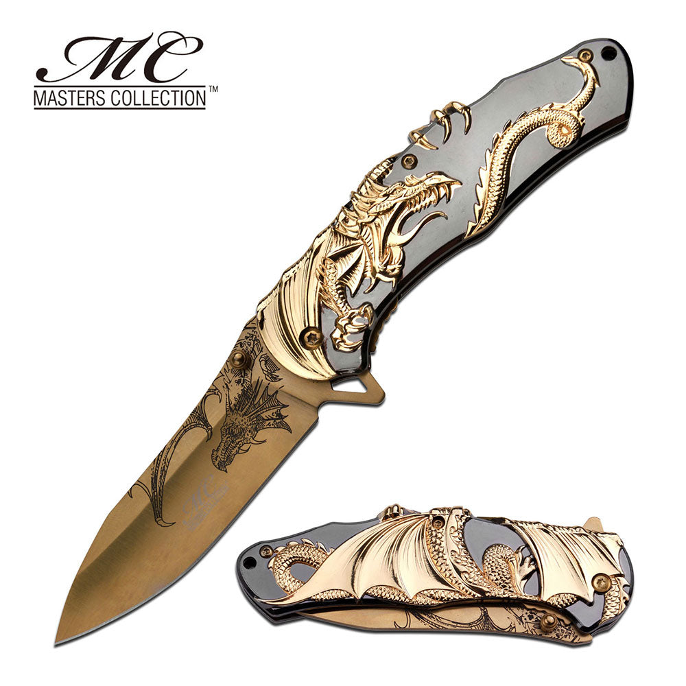 Masters Collection Gift Boxed Dragon Folding Pocket Knife 3CR13 Steel Blade