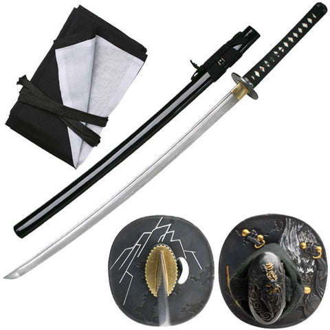Damascus Folded Steel Oni Katana Japanese Samurai Sword Black