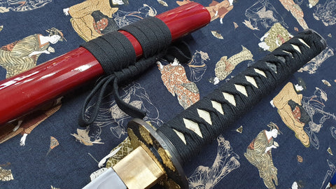 Peony Katana Japanese Sword, Hand Forged Carbon Steel Blade