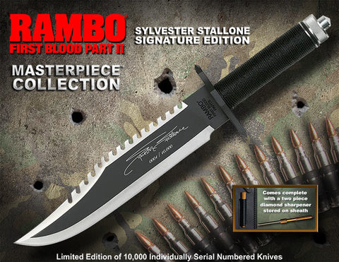 Rambo Part II Stallone Signature Edition Bowie Survival Knife Official Replica