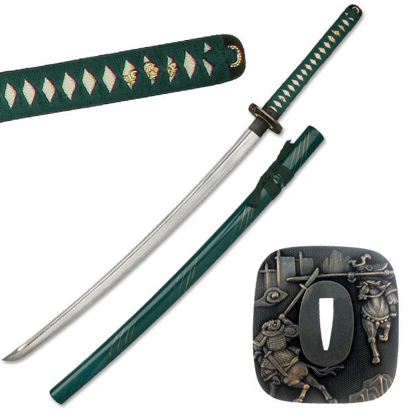 Dragon Katana 1045 Hand Forged Carbon Steel Blade Live Blade Green
