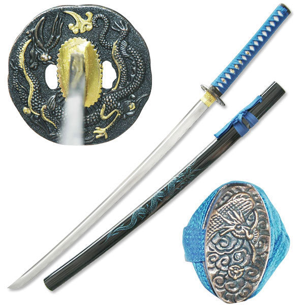 Dragon Katana 1045 Hand Forged Carbon Steel Blade Live Blade Blue