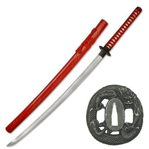 Dragon Katana 1045 Hand Forged Carbon Steel Blade Live Blade Red