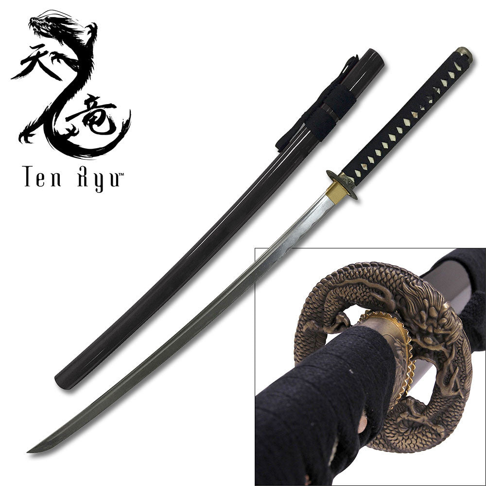 Hand Forged Black Dragon Katana 1045 Carbon Steel Live Blade