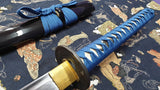 Warrior Katana Japanese Sword, Hand Forged Carbon Steel Blade Blue Tsuka