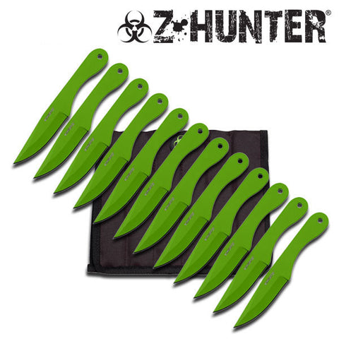 12 Set Green Zombie Hunter Hibben Style Throwing Knives