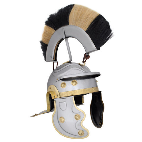 Roman Gallic Helmet, Black and White Crest, 18G, Large