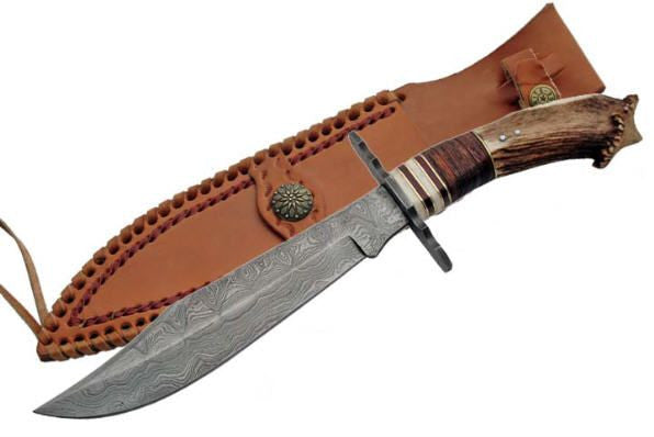 Damascus Steel Crown Stag Horn Bowie Knife