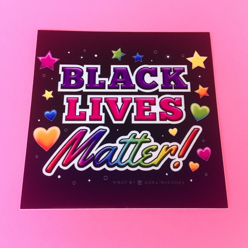 Black Lives Matter Square Rainbow Sticker