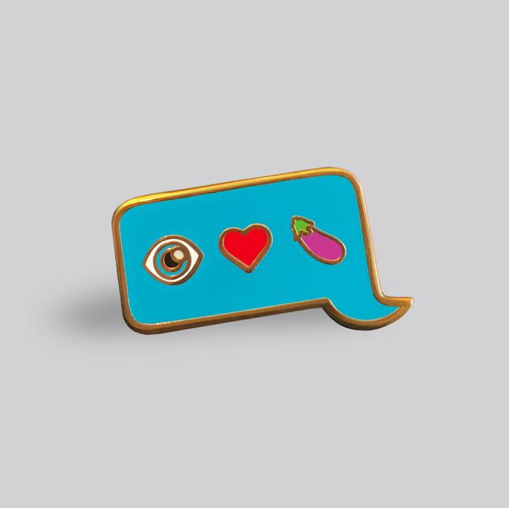 Eye Heart Eggplant Pin