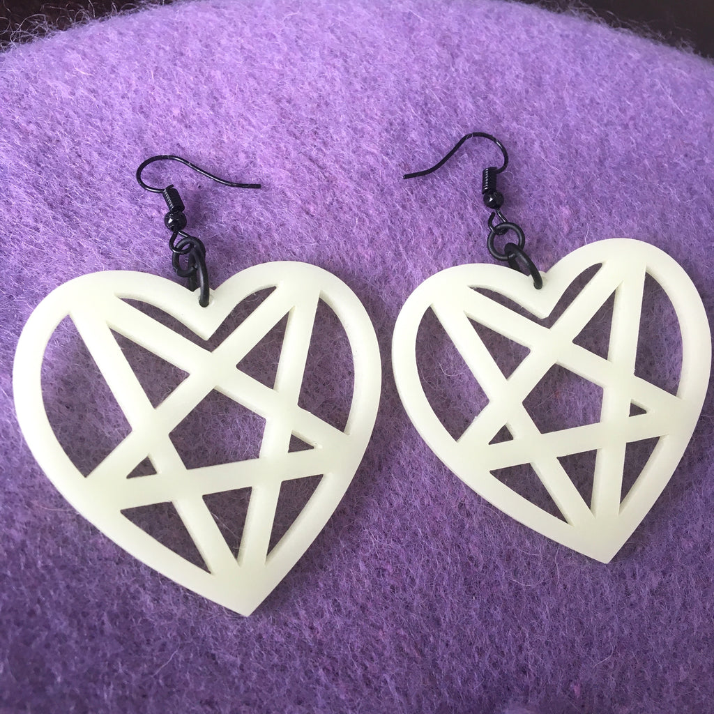 Pentagram Heart Earrings