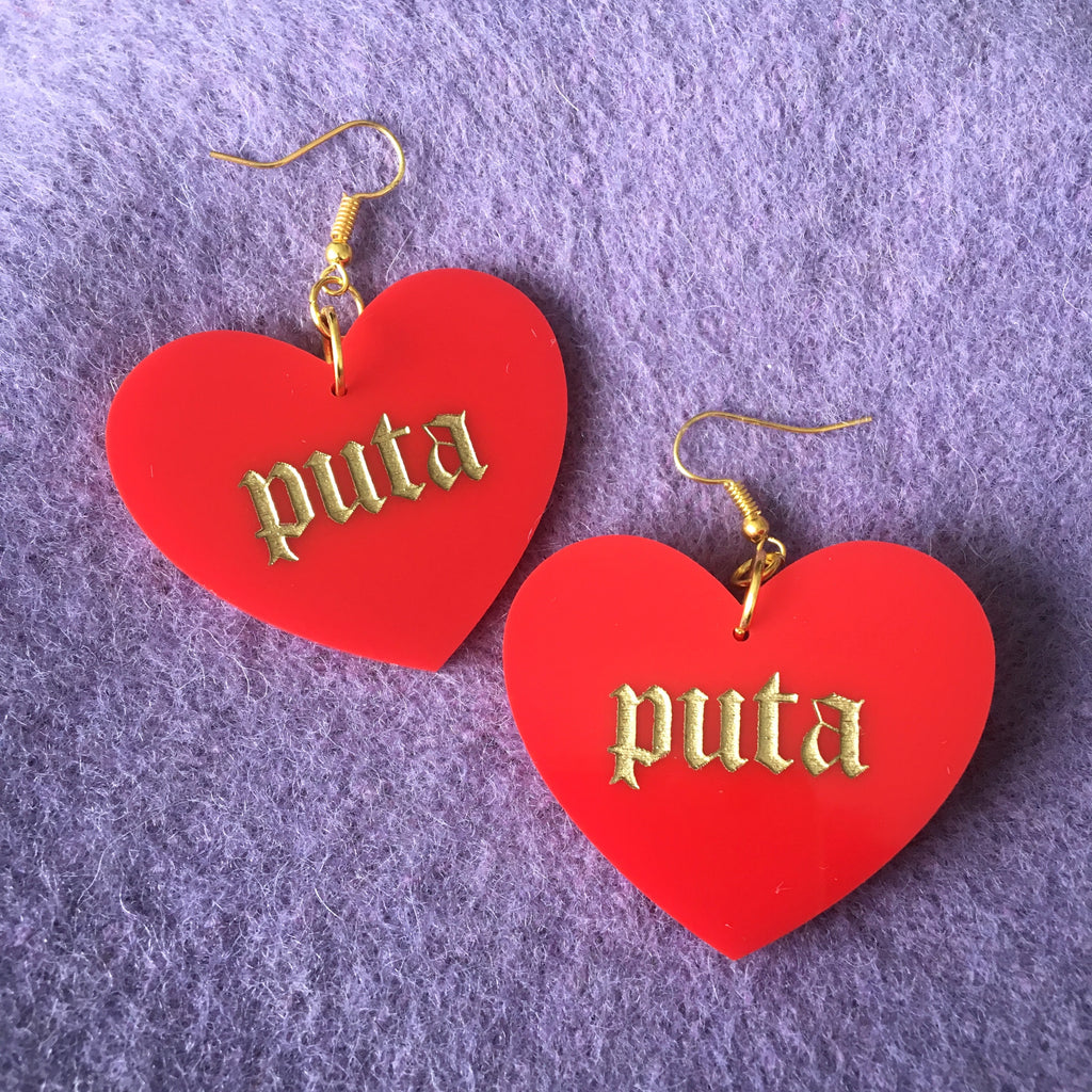 Puta Heart Earrings