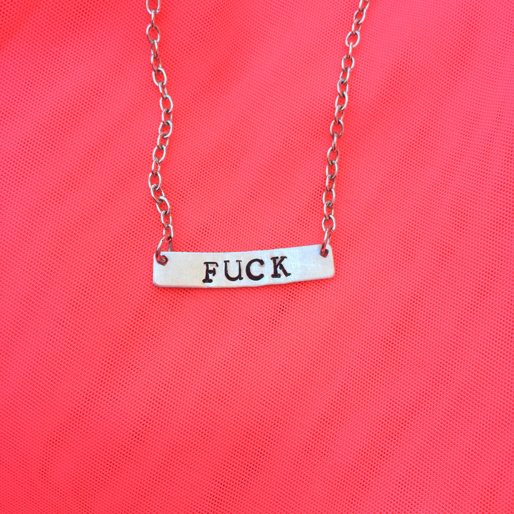 Fuck (silver) - Stamped Necklace