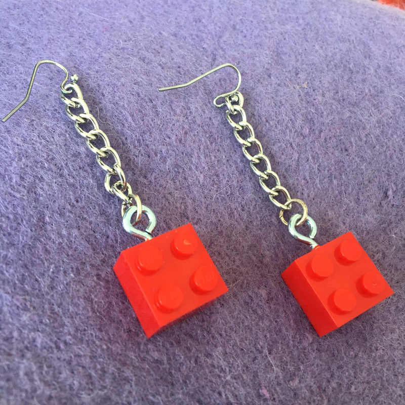 Dangle Chain w/ Brick Earrings