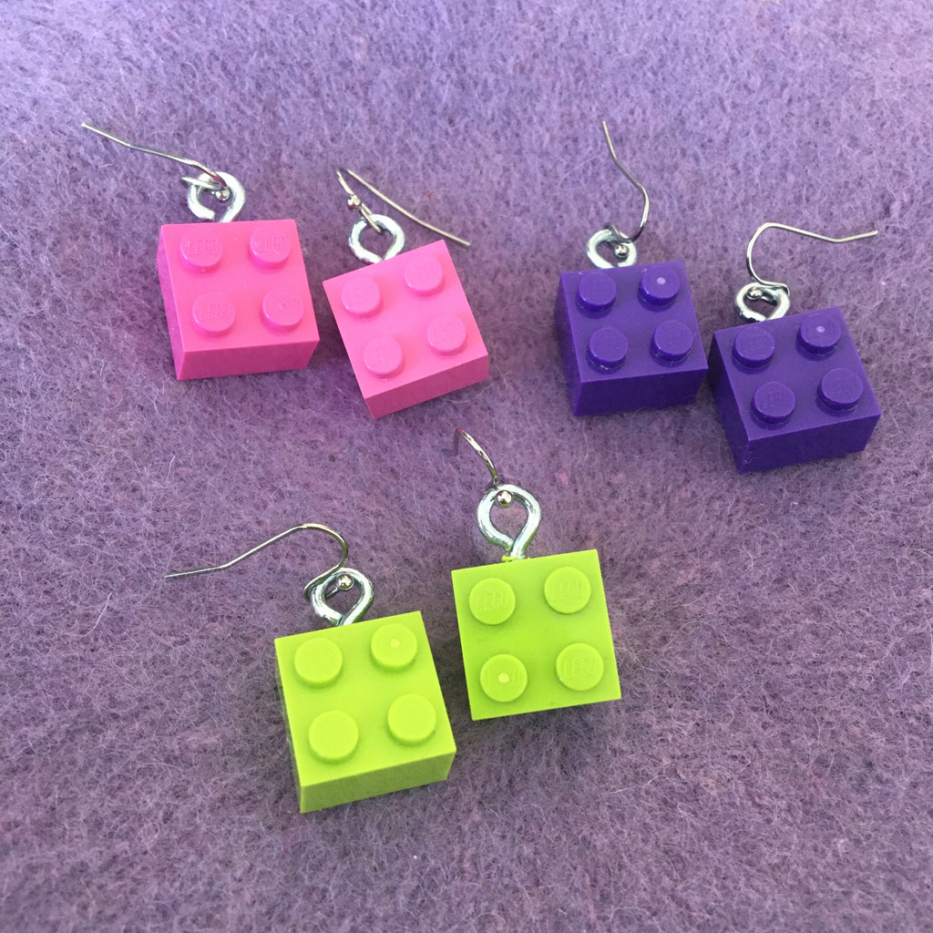 Lego Brick Earrings - 4 Stud