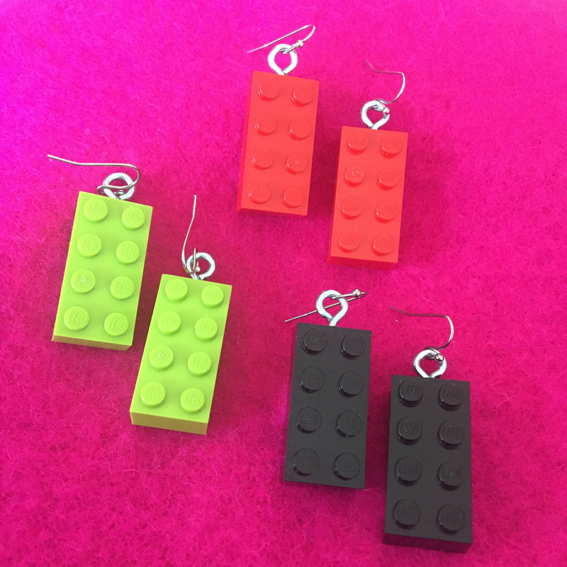 Lego Brick Earrings - 6 Stud